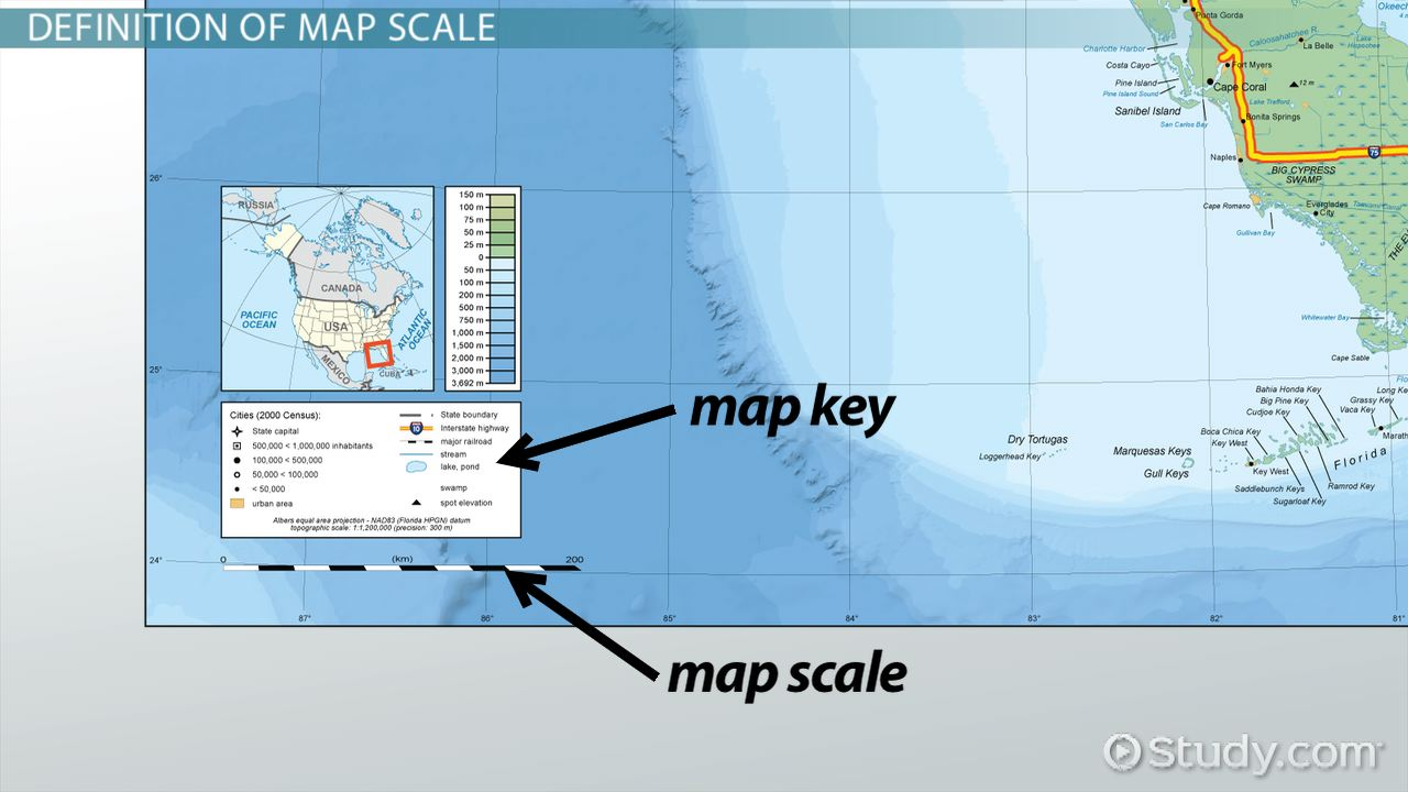 What Is A Map Scale Definition Types Examples Video - Us map with miles scale