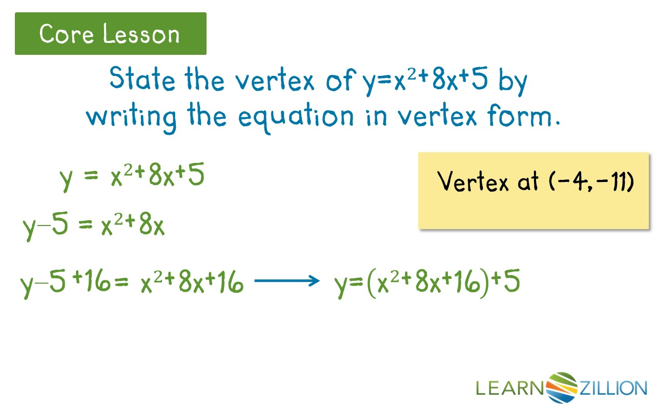 Write a quadratic equation in vertex form by completing the square write a quadratic equation in vertex form by completing the square learnzillion falaconquin