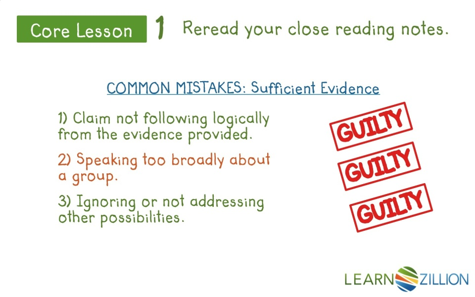 choose relevant evidence to support a claim by rereading close